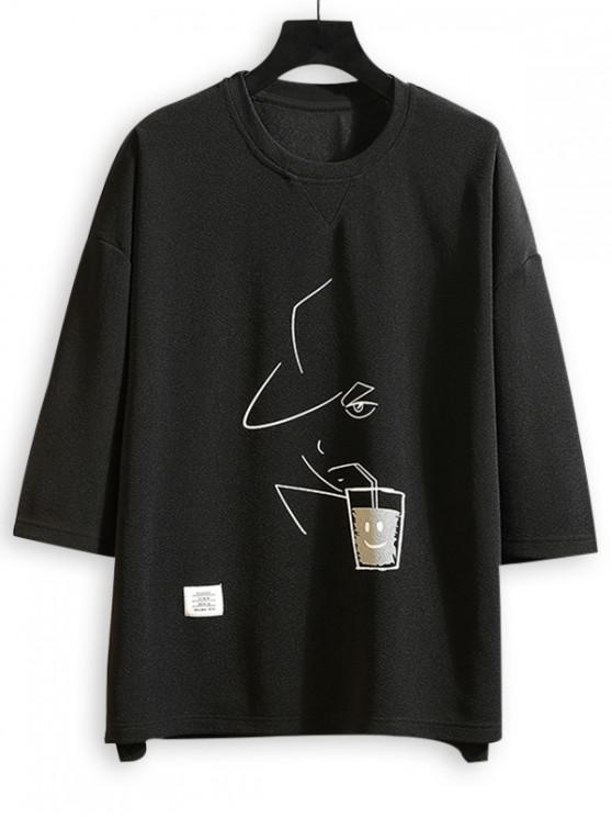 Stick Figure Drinking Graphic High Low Drop Shoulder Tee - أسود S