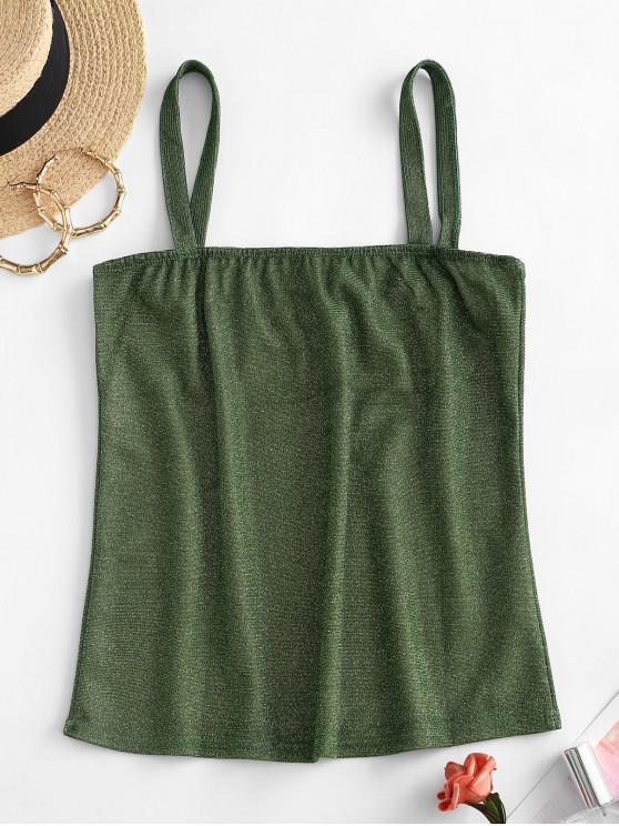 outfit Sparkly Metallic Thread Square Neck Tank Top - PISTACHIO GREEN S