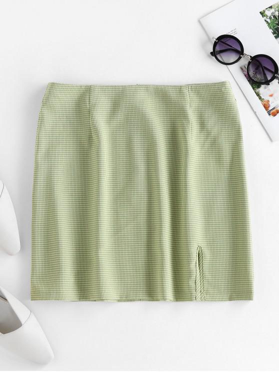 women ZAFUL Plaid Slit Mini Skirt - GREEN S