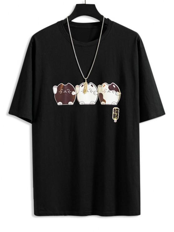 漫画フォーチュン猫はかわいいTシャツ - ブラック M