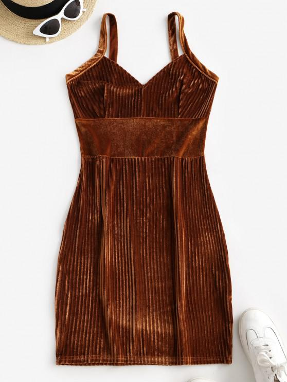 fashion Ribbed Velvet Bodycon Mini Dress - LIGHT BROWN L