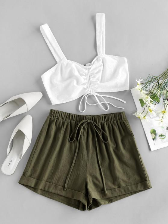 ZAFUL Cinched Cuffed Cotton Two Piece Set - الجيش الأخضر XL