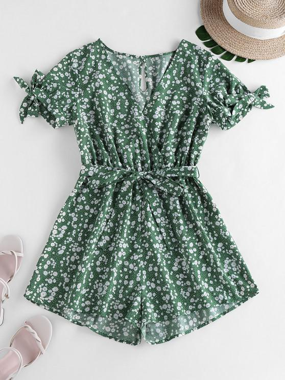 women ZAFUL Tie Sleeve Tiny Floral Print Romper - CLOVER GREEN S