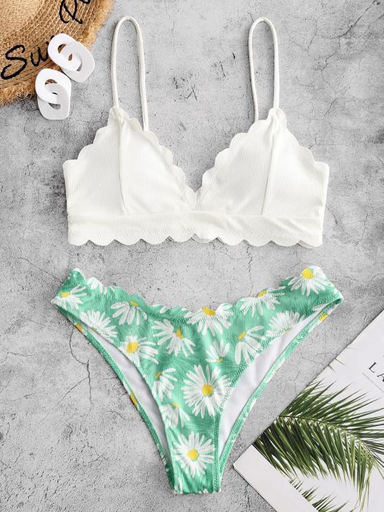 ZAFUL Flower Ribbed Scalloped Tank Bikini Swimwear - أبيض M