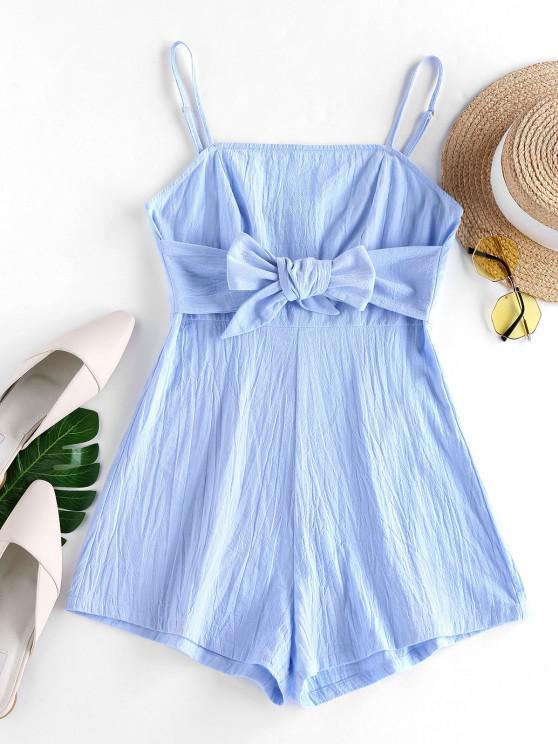 shops ZAFUL Bowknot Cami Wide Leg Romper - LIGHT SKY BLUE S