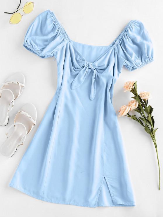 ZAFUL Knot Slit Milkmaid Dress - جينز ازرق S
