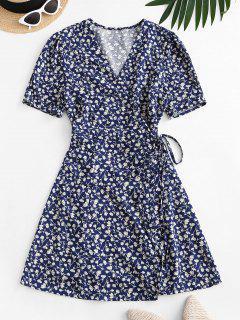 Mini Vestido Envuelto Floral Pequeño - Azul S