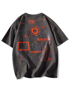 Comic Graphic Print Round Neck T Shirt - Dark Gray M