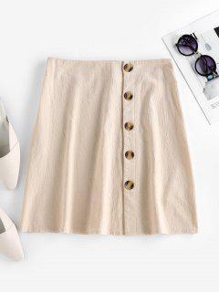 ZAFUL Button Up A Line Skirt - Light Khaki Xl