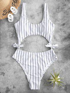 ZAFUL Striped Cutout Tie Side One-piece Swimsuit - White L