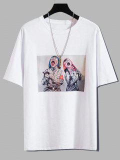 Cartoon Character Print Casual T-shirt - White 4xl