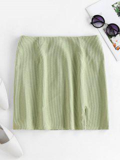 ZAFUL Plaid Slit Mini Skirt - Green L