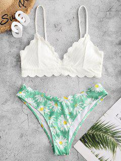 ZAFUL Flower Ribbed Scalloped Tank Bikini Swimwear - White L
