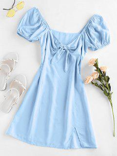 ZAFUL Knot Slit Milkmaid Dress - Jeans Blue Xl