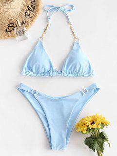 ZAFUL Chains O-ring Halter High Cut Bikini Swimsuit - Light Blue S