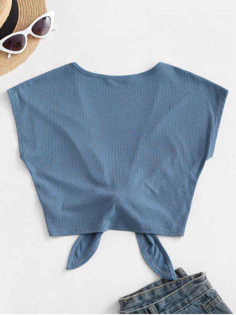 ZAFUL Top com Nervuras e Laço Frente Única - Azul L Mobile