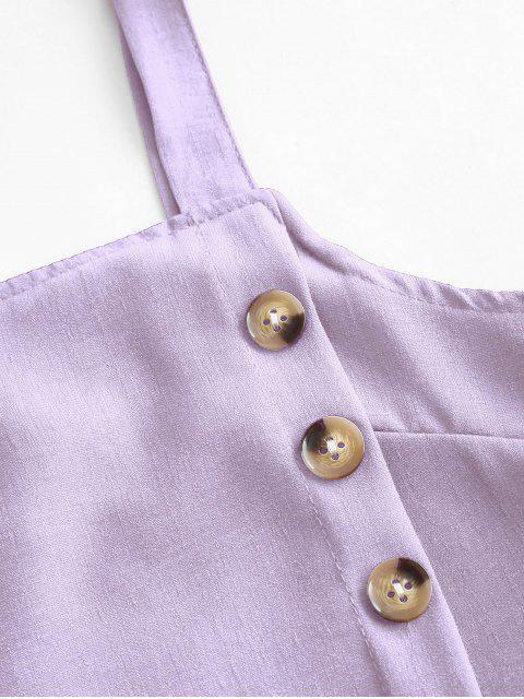fancy Buttons Crop Top and Overlap Shorts Set - PURPLE XL Mobile