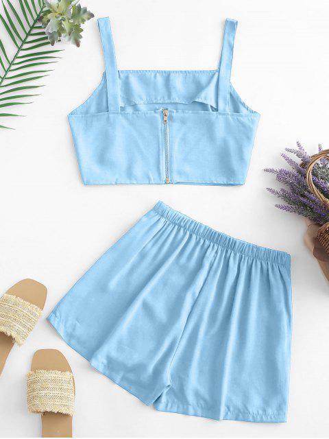Knöpfe Crop Top und Überlappung Shorts Set - Blau S Mobile