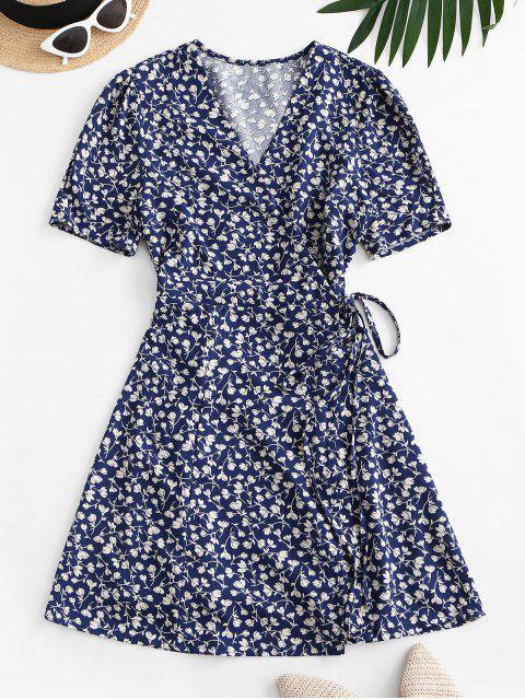 trendy Tiny Floral Wrap Mini Dress - BLUE M Mobile