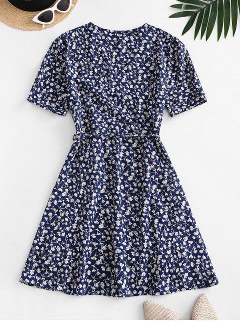 fashion Tiny Floral Wrap Mini Dress - BLUE L Mobile