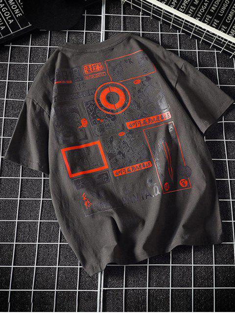 Camiseta Cuello Redondo Estampado Gráfico Dibujo Animado - Gris Oscuro XL Mobile