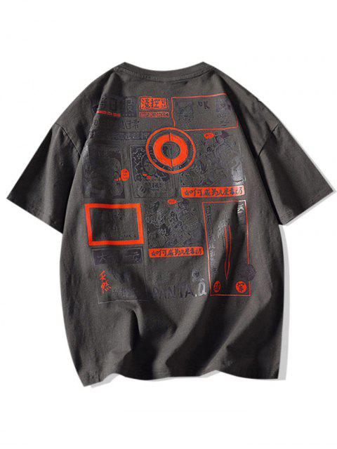 Comic Graphic Print Round Neck T Shirt - الرمادي الداكن XL Mobile