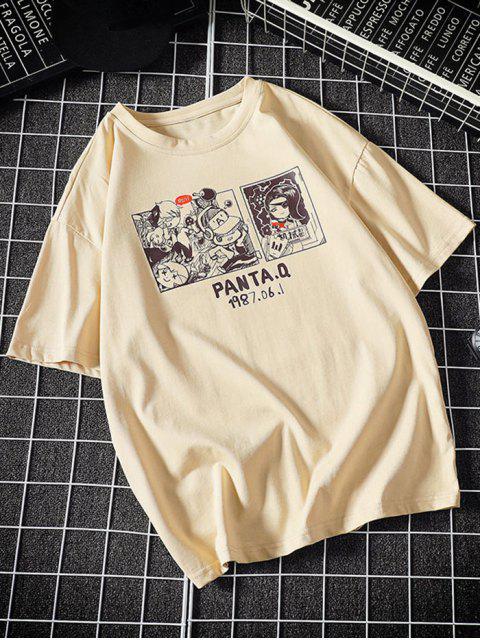 women's Comic Graphic Print Round Neck T Shirt - KHAKI 3XL Mobile