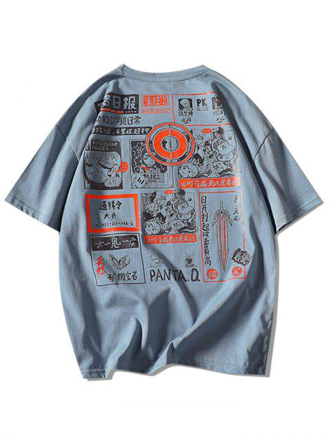 online Comic Graphic Print Round Neck T Shirt - DENIM BLUE 2XL Mobile