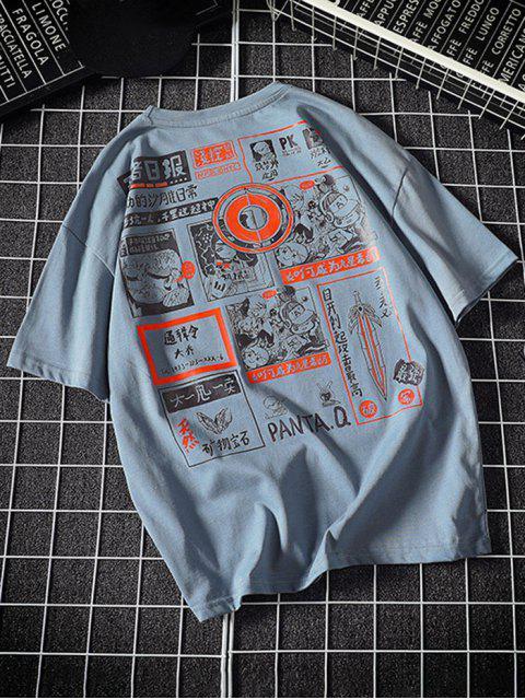 new Comic Graphic Print Round Neck T Shirt - DENIM BLUE 3XL Mobile