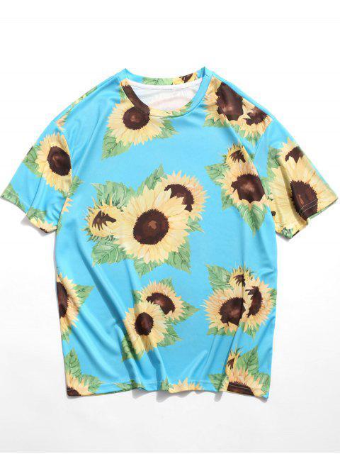 T-Shirt Casuale Stampata a Girasole con Maniche Corte - Azzurro 3XL Mobile