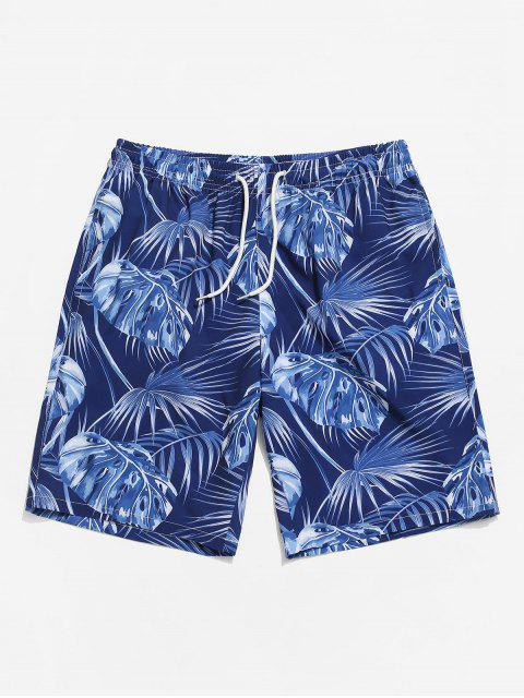 latest Leaf Printing Drawstring Shorts - CADETBLUE S Mobile