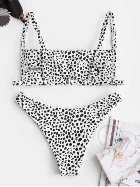 Conjunto de Bikini con Canalé con Estampado de Animal ZAFUL - Blanco L Mobile