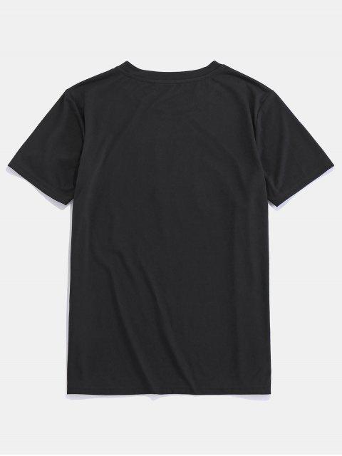 shop ZAFUL American Flag Graphic Basic T Shirt - BLACK S Mobile