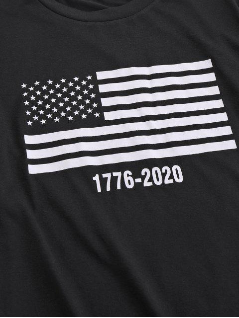 T-Shirt Basic con Grafica di Bandiera Americana di ZAFUL - Nero XL Mobile