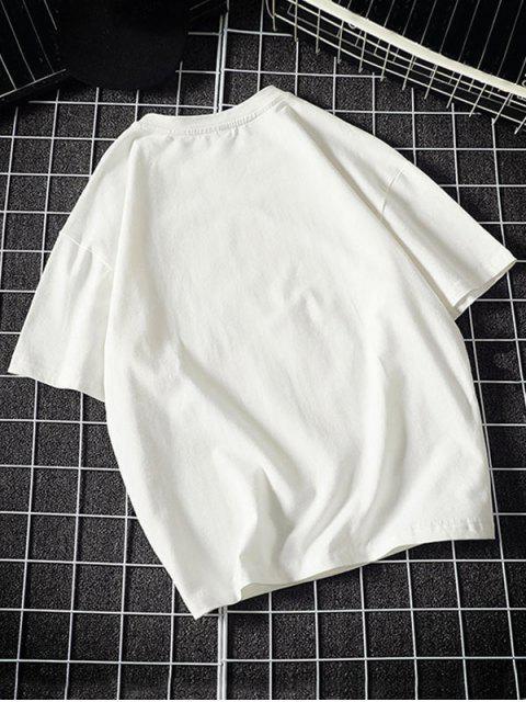 Camiseta Básica con Estampado de Letras y Fuego - Blanco M Mobile