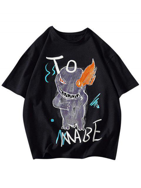 Camiseta Básica con Estampado de Letras y Fuego - Negro M Mobile