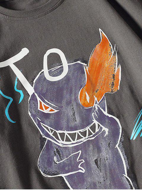 Camiseta Básica con Estampado de Letras y Fuego - Gris Oscuro M Mobile