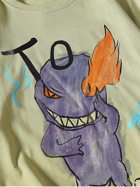 Camiseta Básica con Estampado de Letras y Fuego - Verde M Mobile