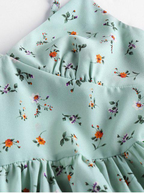 ZAFUL Robe d'Eté Fleurie Imprimée Nouée au Dos - Vert clair L Mobile