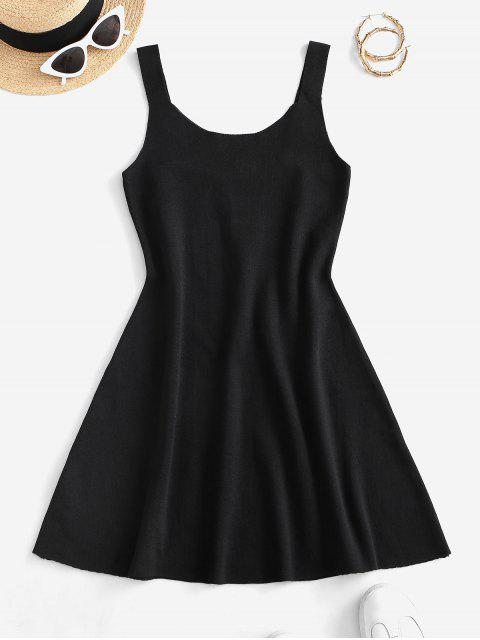 Ärmel Plain Gestrickte Minikleid - Schwarz Eine Größe Mobile