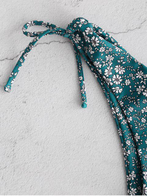 ZAFUL Enrugado Calcinhas de Biquíni com Corte Alto - Azul pavão S Mobile