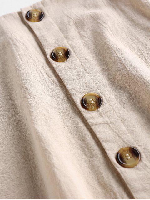 fancy ZAFUL Button Up A Line Skirt - LIGHT KHAKI XL Mobile