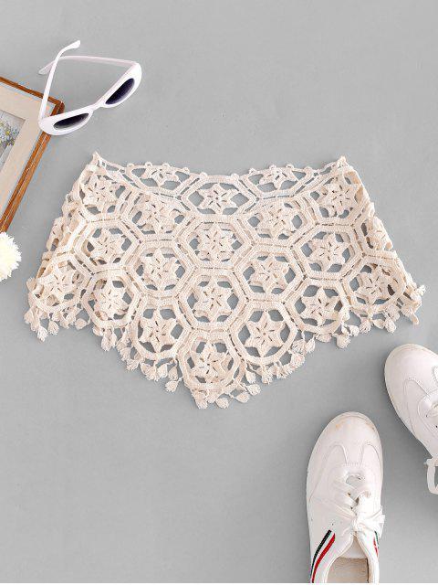 ladies Crochet Asymmetric Top - BEIGE ONE SIZE Mobile