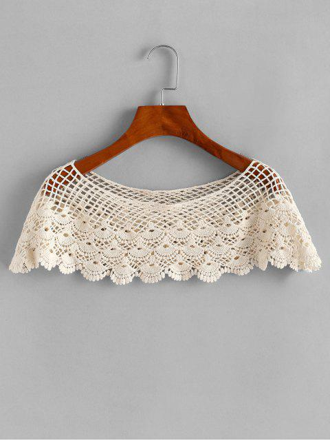 shop Crochet Poncho Top - BEIGE ONE SIZE Mobile