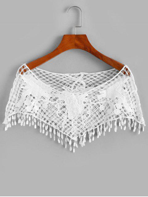 unique Crochet Fringed Openwork Crop Top - WHITE ONE SIZE Mobile