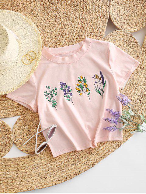 shop ZAFUL Flower Print Crop T-shirt - PIG PINK L Mobile