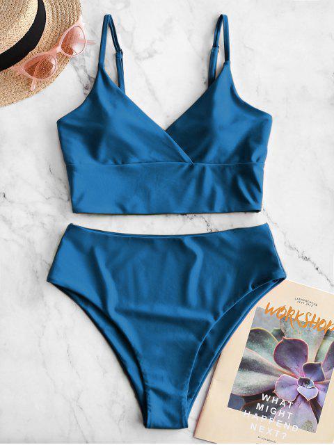 ZAFUL Surplice Hochgeschnittener Cami Tankini Badebekleidung - Ozeanblau M Mobile