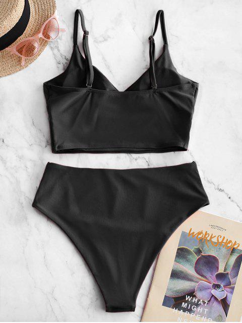 women's ZAFUL Surplice High Cut Cami Tankini Swimsuit - BLACK L Mobile