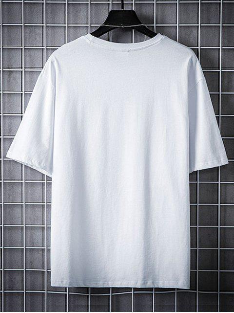 Camiseta Casual de Estampado de Corazón - Blanco 2XL Mobile