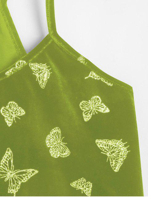 ZAFUL Haut à Bretelle Papillon à Paillettes en Velours - Vert Foncé de Mer L Mobile